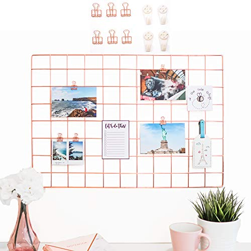 AllTheCuteThings Rose Gold Wire Wall Grid with 6 Metal Clips and 4 Hooks, Size 25.6
