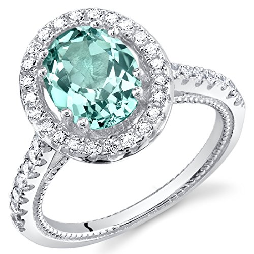 Bling Rings Wholesale (Simulated Paraiba Tourmaline Sterling Silver Halo)