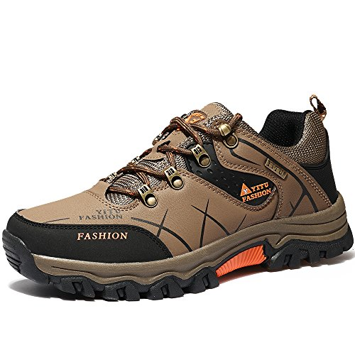 VILOCY Men's Hiking Boots Trekking Shoes Low Top Waterproof Antiskid Cushioning Boots Outdoor Sneaker (Low Rise Mens Shoes)