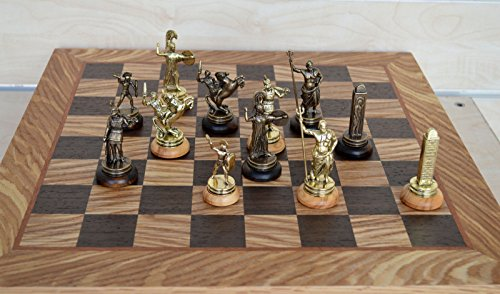Copper Chess (Manopoulos Greek Mythology Chess Set - Gold-Copper - Olive Wood Board)