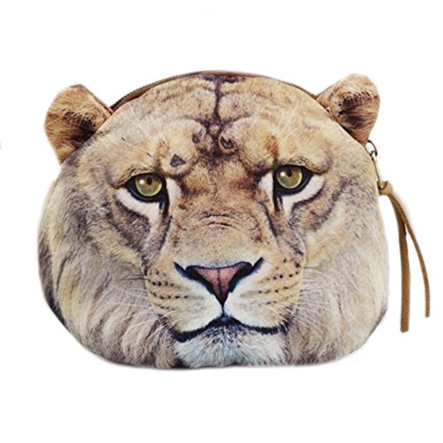 Zipper Coin Purse and Card Holder - Flat Cloth Cute Big Cat Change Holder, Zip Pouch, for Girls, Boys, Lion, by Big Cat Rescue (Purse Coin Face Smile)
