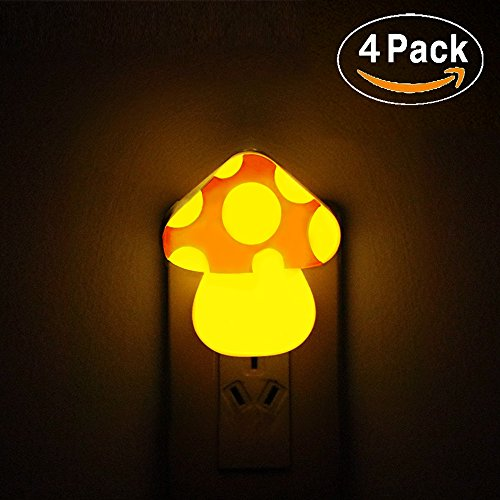 McWorks 4-Pack Plug in Night Light, Baby Toddler Sleep Soothers Soft Warm White/Amber Light, Energy Saving with Dusk to Dawm Sensor