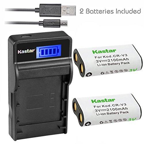 Kastar Battery (X2) & SLIM LCD Charger forr CR-V3 LB-01 and Olympus C3000 D565 D-100 D-150 D-230 D-370 D-380 D-390 D-40 D-460 D-490 D-520Z D-560Z, Kodark EasyShare C310 C530 C875 + More Camera (C310 Memory)
