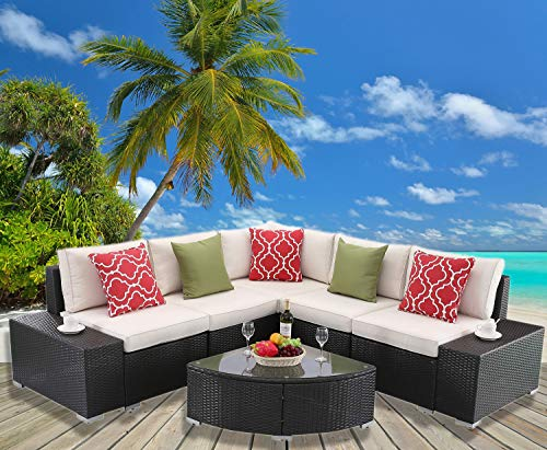 HTTH Outdoor Indoor Sectional Sofa 6 Piece Set Wicker Furniture Modern Stylish Sectional Conversation Washable Seat Cushions & Glass Coffee Table Patio Backyard Pool