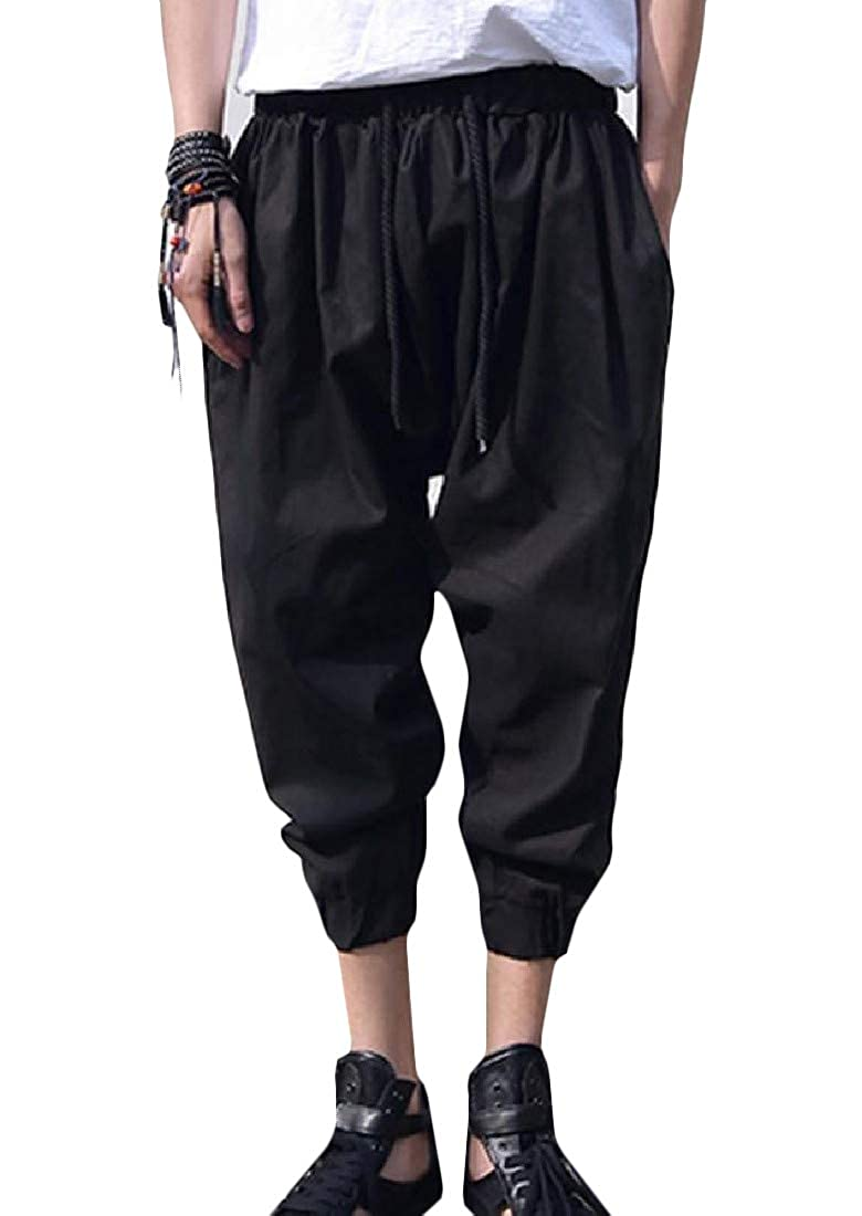 Wofupowga Mens Baggy Joggers Loose Capri Mid Rise Trousers Drawstring Pants