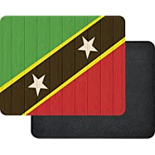 Rikki Knight Saint Kitts And Nevis Flag on Distressed Wood Premium Quality Faux Leather Mouse Pad