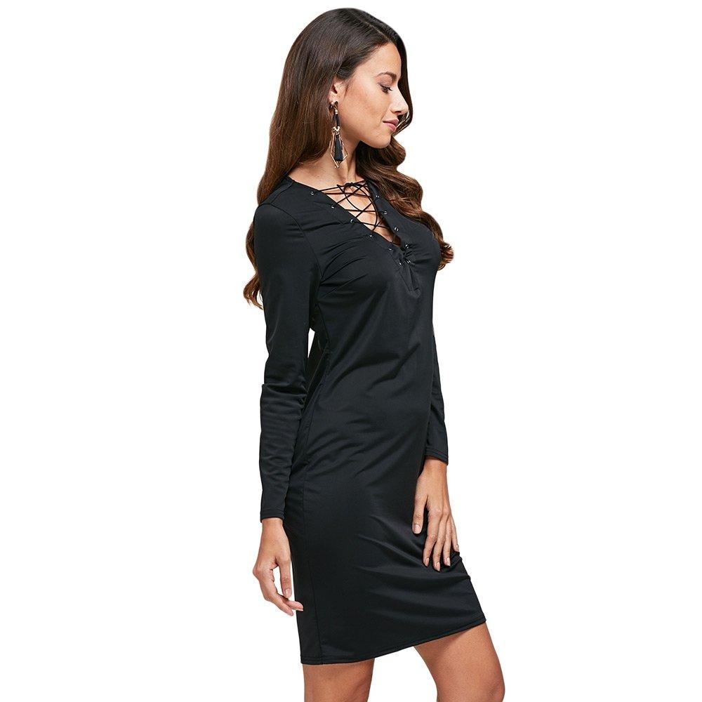 fc4574080125 Women Girls Black Bodycon Dress Chic V-Neck Front Criss Cross Bodycon  Dresses at Amazon Women s Clothing store