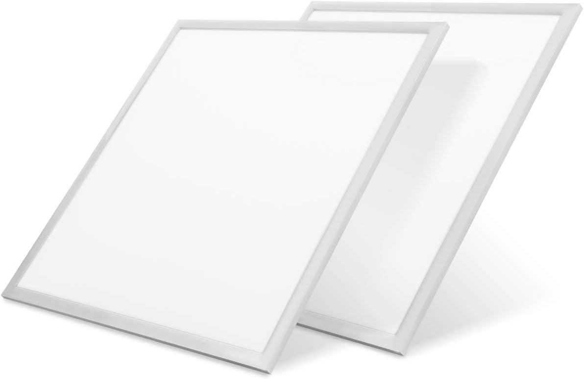 LVWIT 2x Panel LED 60x60cm - 42W equivalente a Fluorescente 80W, 4000 lúmenes, Color Blanco Frío 6500K - Pack de 2 Unidades.