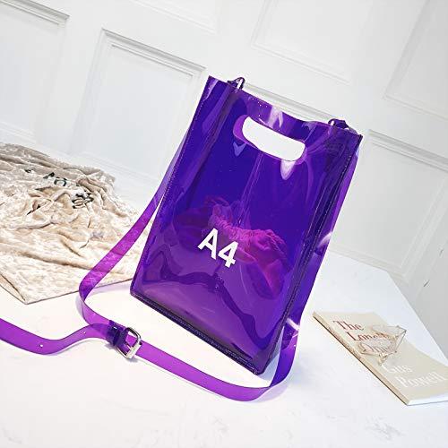 coréenne Sac épaule A4 Sac Sac Femme Sauvage gelée Messenger Transparent Mode Violet de WSLMHH vwIaqAA