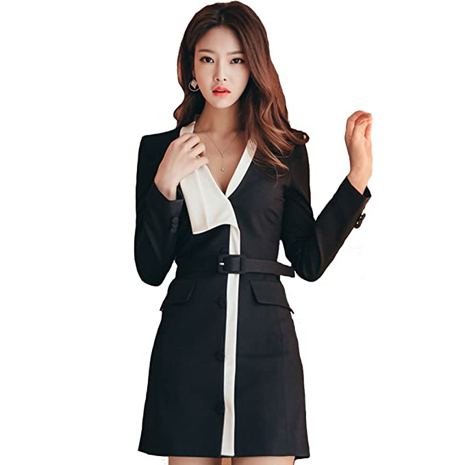 Mujer Cuello en V Bodycon Mini Vestir Oficina dama Fiesta Negro Vestidos 80Store (Negro,