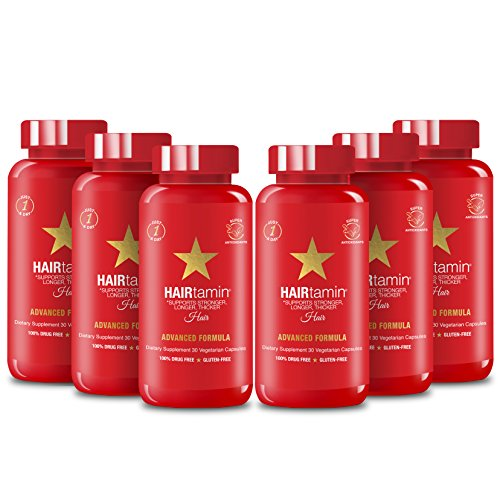 HAIRtamin Fast Hair Growth Biotin Vitamins Gluten Free thirty Vegetarian Capsules Supports Stronger Longer Thicker Hair Reduces Hair Loss and Thinning All Natural Supplement six pack by #HAIRtamin