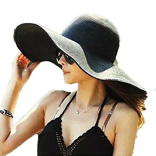 (Romantic moments Women's Beach Sun Hats 2018 Fashion Visor Large Brimmed Straw Sun hat Folding Wholesale Sun hat,Black)