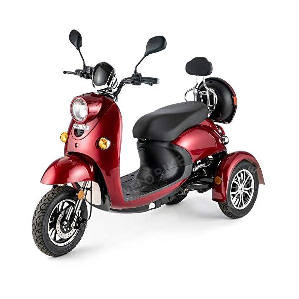 VELECO ZT63 Scooter elettrico 3 ruote per anziani e disabili Seniors Allarme 650W ROSSO 1 spesavip