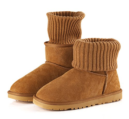 Women Short Knitted Cardy Slouch Winter Snow Outdoor Suede Warm Shoe Boots (8, (Cardy Fashion Boot)