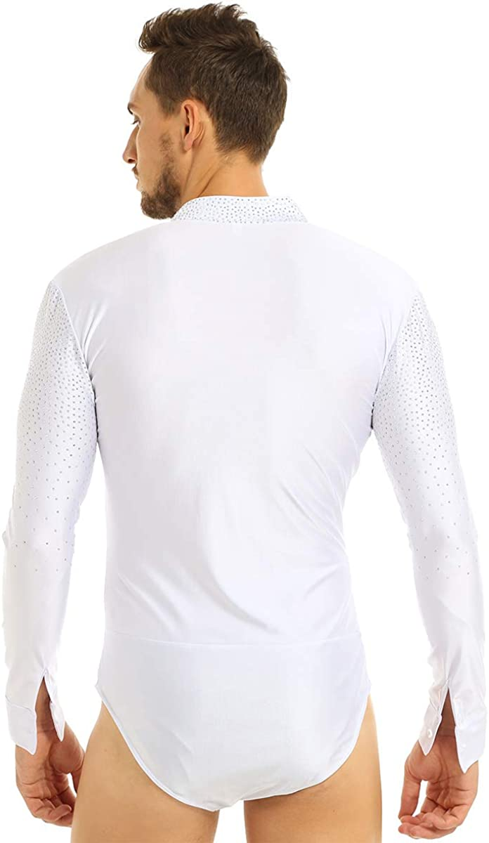 iiniim Mens One Piece Shiny Rhinestones Long Sleeve Latin Dance Shirt Ballroom Leotard Bodysuit