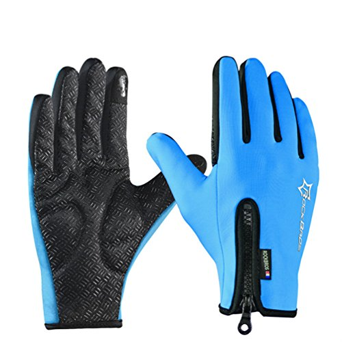 RockBros Cycling Touch Screen Gloves Winter Mountain Road Bicycle Motorcycle Fleece Gloves Blue XL