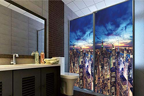 Horrisophie dodo 3D Privacy Window Film No Glue,City,Empire State and Skyscrapers of Midtown Manhattan New York Aerial View at Dusk,Tan Navy Blue Aqua,70.86