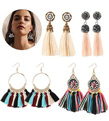 LOYALLOOK Tassel Earring for Women Thread Hoop Tassel Earring Long Bohemian Fringe Dangle Drop Earring Set, 4 Pairs