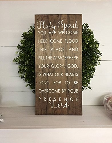 PotteLove Holy Spirit Sign Holy Spirit You Are Welcome Here Sign Holy Spirit You Are Welcome Here Rustic Wooden Sign Wooden Sign