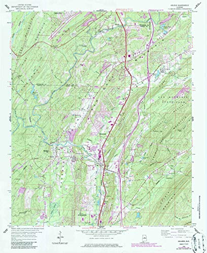 YellowMaps Helena AL topo map, 1:24000 Scale, 7.5 X 7.5 Minute, Historical, 1959, Updated 1986, 26.9 x 22 in - Polypropylene ()
