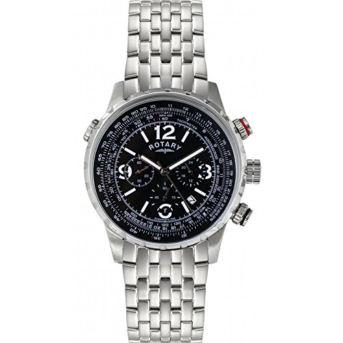 Rotary Men's Black Dial Stainless Steel Bracelet Chronograph Watch GB00323/04/L