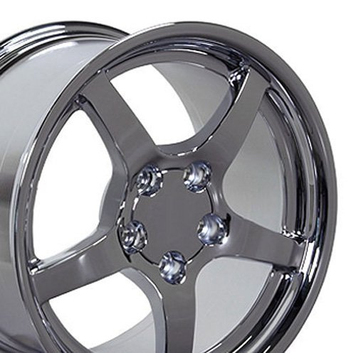 18x9.5 Wheel Fits Corvette, Camaro - C5 Style DD Chrome Rim (C5 Style Corvette Wheel)