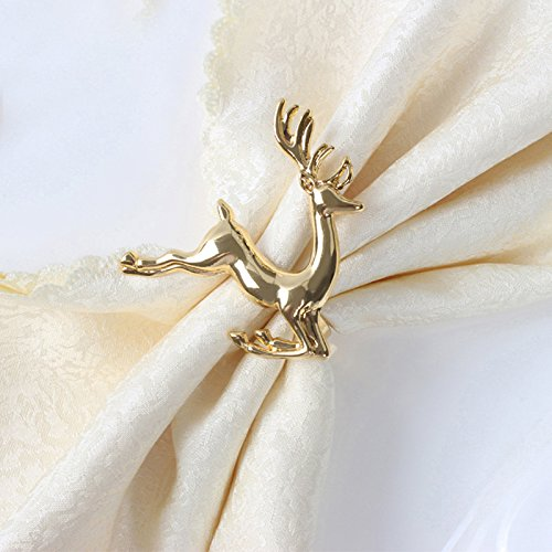 Ornament Christmas Deer (AW BRIDAL Napkin Rings Set of 6, Gold Deer Napkin Rings Table Decorative Ornament for Christmas Wedding Parties)