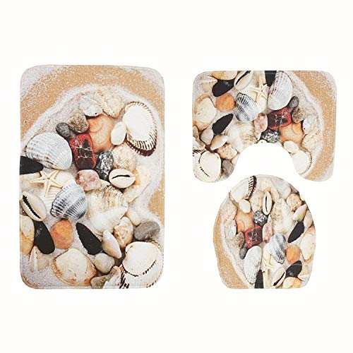 3pcs Bath Mat Set Beach Seashell Pattern Toilet Rug Anti Slip Bathroom Mat Washing Machine Bathroom Rug Toilet Cover Sets- Royal Velvet Bath Mat- Christmas Bath Mat