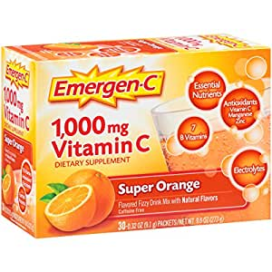 Emergen-C Dietary Supplement Drink Mix with 1000 mg Vitamin C, 0.32 Ounce Packets, Caffeine Free (Super Orange Flavor, 30 Count)