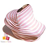 Tykes & Tails - 5 in 1 Baby Breastfeeding Cover, Car Seat Cover, Shopping Cart Cover and Trendy Scarf - Pink/White Stripe Pattern - Many Other Colors Options - Best 5in1 Nursing Cover on the Amazon