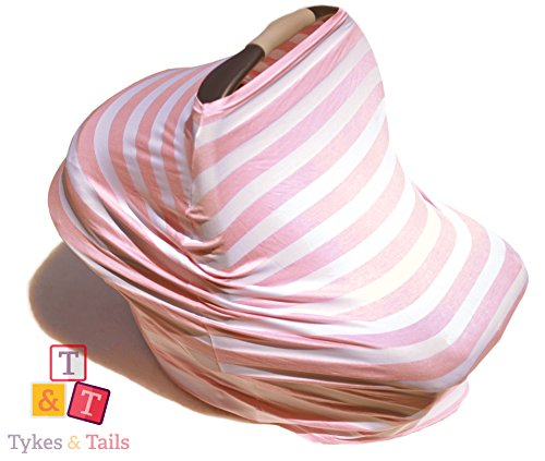 Tykes & Tails - 5 in 1 Baby Breastfeeding Cover, Car Seat Cover, Shopping Cart Cover and Trendy Scarf - Pink/White Stripe Pattern - Many Other Colors Options - Best 5in1 Nursing Cover on the Amazon from Tykes & Tails