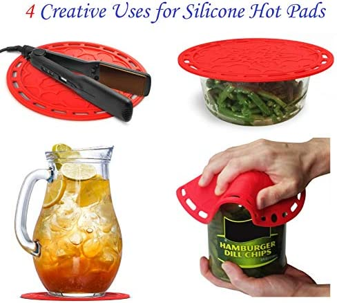 Silicone Hot Pads Set of 4  6 in 1 MultiPurpose Kitchen Tool Pot Holder Splatter Guard Microwave