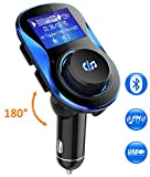 Bluetooth FM Transmitter, Comsoon [180°Rotation] Wireless Radio Adapter Car Kit with 5V/2.1A & 1A Smart IC Dual USB Car Charger, 1.40 Inch LCD Display, TF Card Slot, U Disk, AUX Input/Output (Black)