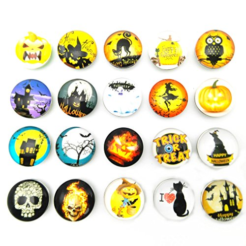Lovglisten Newest Happy Halloween Style Snap Jewelry Fit 18MM Snap Charms Making Pack of 20pcs (halloween-20pcs)
