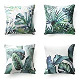 "PHANTOSCOPE New Tropical Leaves Throw Pillow Cushion Cover 18"" x 18"" 45cm x 45cm Set of 4"