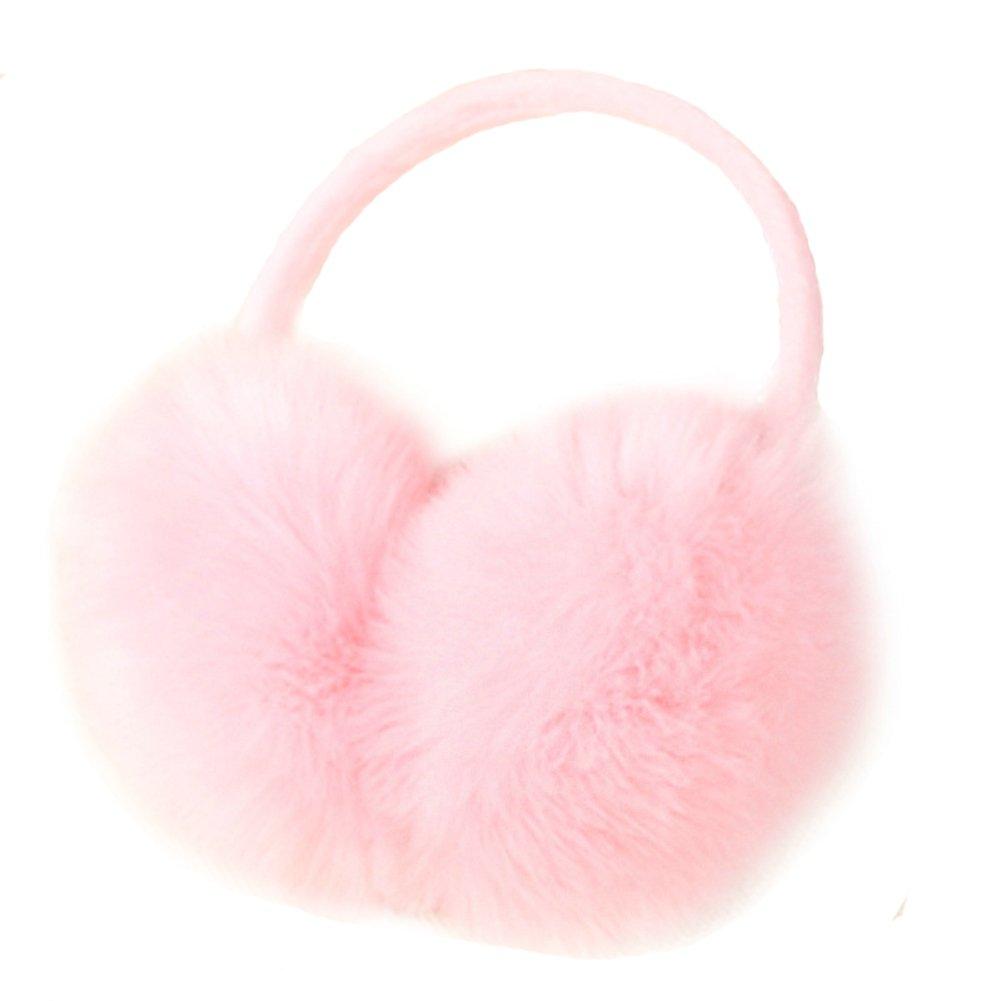 Women's Faux Fur Plush Earmuffs Adjustable Fashion Ear Warmer Winter (Pink) by Elfjoy