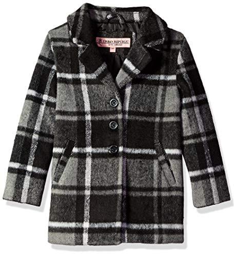 Urban Republic Big Girls 425gsm Wool Jacket, Black Plaid ()