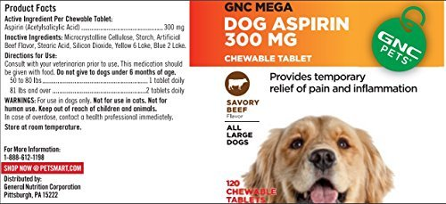 GNC Pets Mega Dog Aspirin Pain Reliever 120 Chewable Tablets by GNC Pets ()