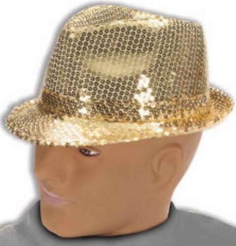 Forum Mardi Gras Costume Party Accessory, Gold, One Size (Gold Sequin Fedora Adult Hat)
