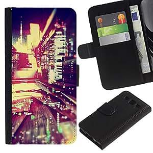 KLONGSHOP / Tirón de la caja Cartera de cuero con ranuras para tarjetas - Reflection Night Lights City Modern - Samsung Galaxy S3 III I9300