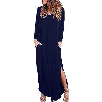 Vestido para Mujer Mujer ,BBestseller Mujer Vestido Blusa de Solapa Casual para Mujer Vestido Largo de Manga Larga con Escote en V y Escote en V Camiseta ...