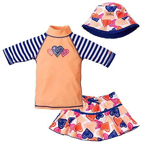 Baby Girls Rash Guard Top (UV SKINZ Girls' 3-piece Swim Set. UPF 50+ Sun Protection Swim Set (12-18 Months, Heart))