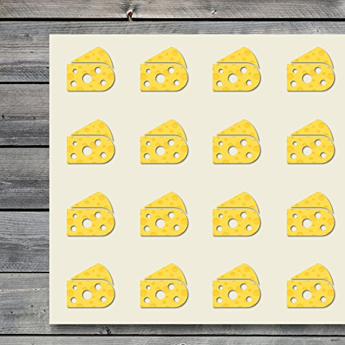 Cheese Dairy Food Eat Craft Stickers, 44 Stickers at 1.5 Inches, Great Shapes for Scrapbook, Party, Seals, DIY Projects, Item 559581