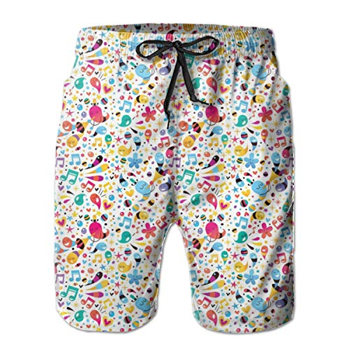 (Men Swim Trunks Beach Shorts,Happiness Vibes with Flowers Stars Musical Pitch Tempo Sound Hearts Childish Design L)
