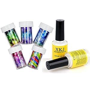 MOPRETTY Star Glue DIY Nail Art Sticker Nail Art Decorations Set Nails Transfer Foil 5pcs+ 2pcs Glue 16ml