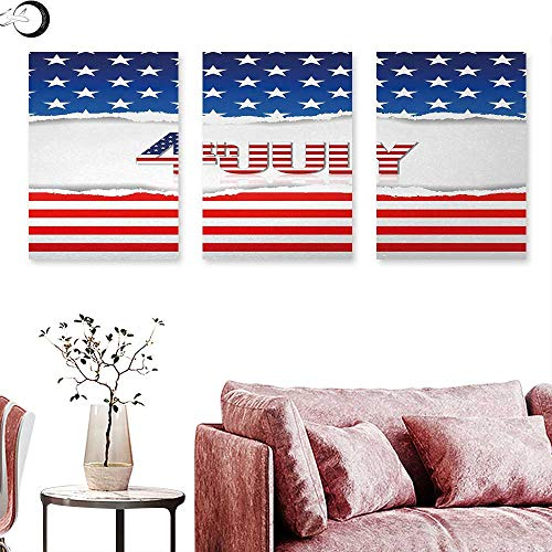 - J Chief Sky 4th of July Canvas Wall Art American Flag Old Glory Design with Stars and Stripes Pattern Patriotic Image Triptych Photo Frame Multicolor W 20