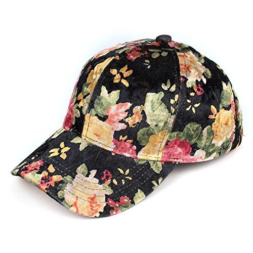 C.C Oriental Flower Patten Baseball Cap(BA-743) (Velvet-Black)