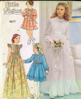 Little Vogue 1877 Flower Girl or Special Occasion Dress and Veil Pattern - First Communion Vintage Sewing Pattern Check Offers for Size ()