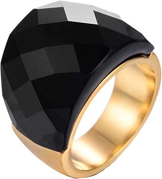 Silver Plated 316L Stainless Steel Ring With Costume  Ruby Ring And Black Onyx Crystal For Unisex Jewelry
