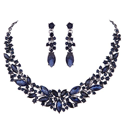 Youfir Austrian Crystal Rhinestone Bridal Wedding Necklace and Earrings Jewelry Sets for Women (Navy Blue)